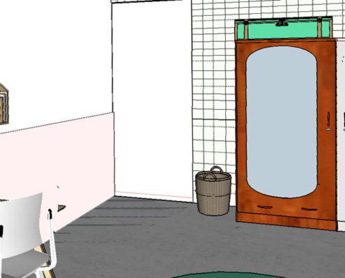Pimpelwit interieurontwerp slaapkamer ontwerp kinderkamer Histor Karwei behang SketchUp