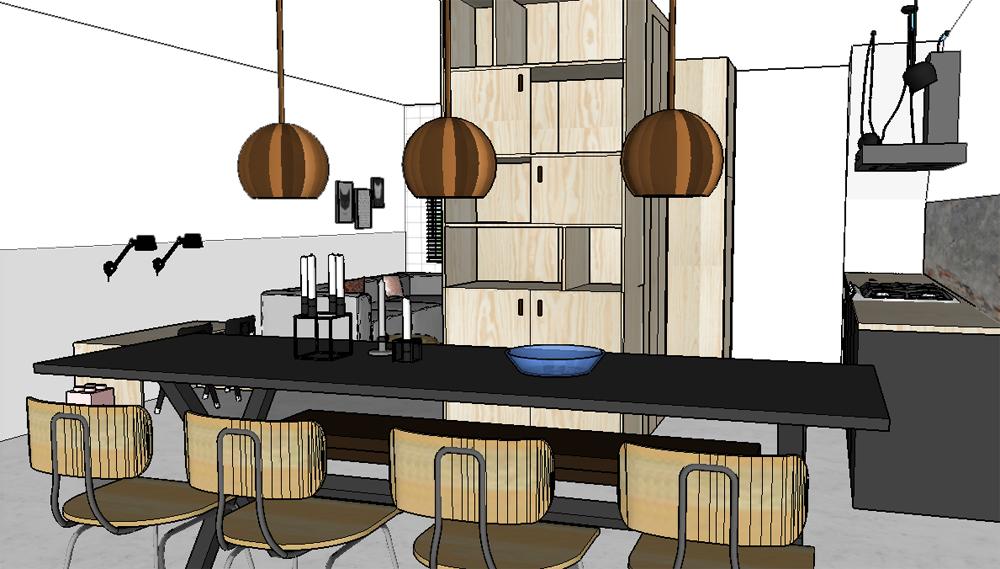 Pimpelwit interieurontwerp-sketchup-3D-layout-Hay-Flos-zwart-wit-beton-underlayment.4