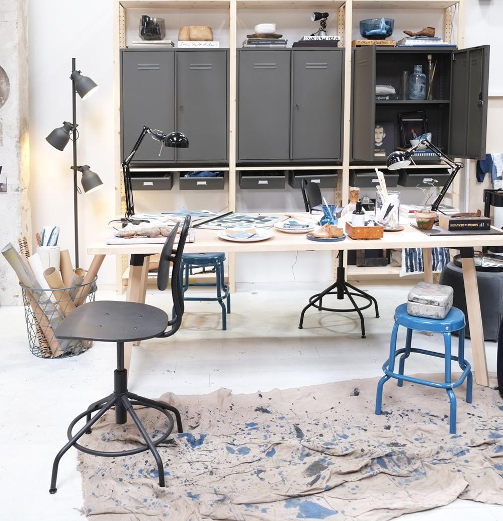 Pimpelwit_interieurontwerp_Ikea_de ideale werkplek-salonedelmobile2017_atelier_werkruimte_werktafel_bureaustoel_metalenkast